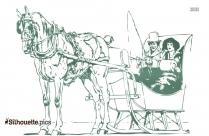 Couple Riding A Horse Sleigh Silhouette