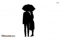 Couple Standing Under An Umbrella Silhouette