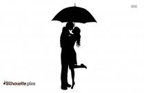 Couple Under Umbrella Silhouette Design