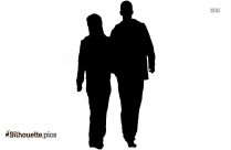 Couple Walking Silhouette Drawing