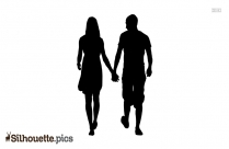 Two People Walking Silhouette