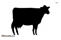 Cartoon Cow Front View Silhouette