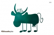 Cute Chibi Cow Drawing Silhouette