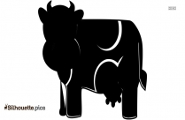 Crazy Cartoon Cow Silhouette Vector And Graphics