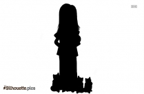 Girl Riding Bicycle Silhouette Clipart