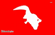Crocodile Silhouette In Red Background