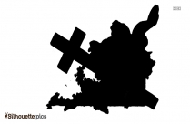 Cross With Flowers Silhouette Drawing Image