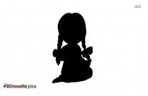 Cartoon Girl Sitting Silhouette