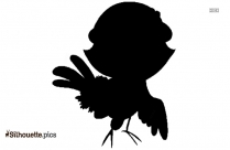 Free Cartoon Bird With Worm Silhouette