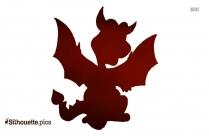 Black And White Baby Dragon Cartoon Silhouette