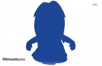 Cartoon Little Girl Silhouette Image, Vector Art