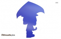 Cute Cartoon Girl With Umbrella Silhouette Illustration