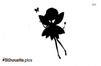 Cute Fairy With Magic Wand And Butterfly Silhouette Image