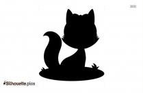 Cute Fox Black And White Silhouette