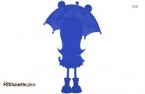 Cute Girl With Umbrella Clip Art Silhouette