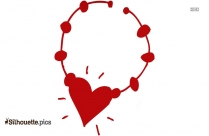 Cute Heart Necklace Clipart Silhouette