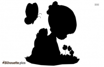 Cute Small Girl And Butterfly Silhouette Drawing