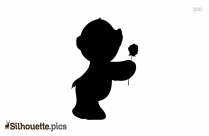 Cute Teddy Bear With Rose Silhouette