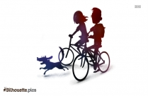 Baby Animal Riding Bicycle Silhouette