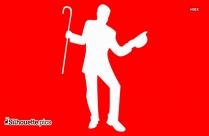 Dancer With Cane Vector Silhouette
