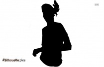 Dancing Little Girl Outline Silhouette