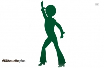 Disco Dancing Woman Clip Art Silhouette