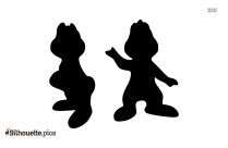 Chip And Dale Disney Black And White Silhouette