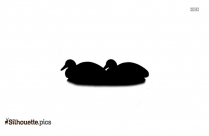 Black And White Duck Swimming Silhouette