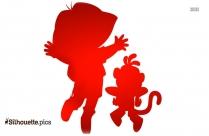 Chota Bheem Cartoon Silhouette Free Vector Art