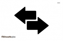 Double Arrow Pointing Left Direction Silhouette