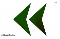 Double Left Arrow Silhouette Clipart