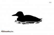 Duck Swimming Silhouette Art