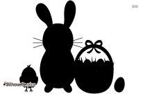 Easter Bunny And Chick With Basket Silhouette