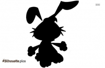 Rabbit Holding Heart And Flowers Silhouette