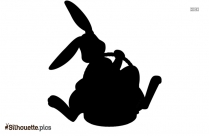 Black And White Two Easter Bunny Silhouette
