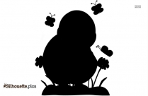 Cute Chicks Silhouette Drawing