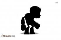 Evil Robot Cartoon Silhouette Clipart
