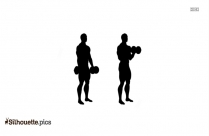 Exercise Biceps Standing Dumbbell Silhouette