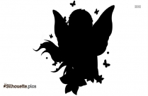 Fairy Girl Silhouette, Clipart