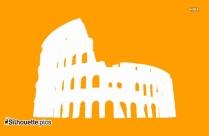 Famous Historic Buildings Symbol Silhouette, The Colosseum Clip Art Icon