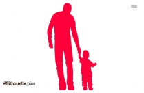 son holding father hand silhouette