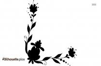Decorative Flower Border Silhouette Background