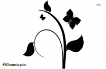 Flower Vine With Birds And Butterfly Silhouette