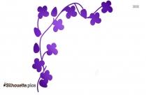 Simple Flower Corner Design Silhouette