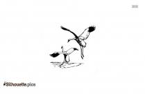 Flying Crane Bird Silhouette