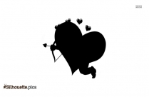 Flying Cupid Heart Silhouette