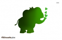 Black Cute Baby Elephant Silhouette Image