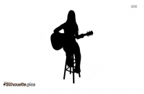 Free Girl With Guitar Silhouette