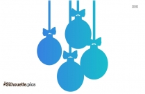 Christmas Jingle Bell With Wreath Leaves And Ribbon Silhouette