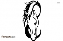 Black And White Horse Running Silhouette, Vector Art